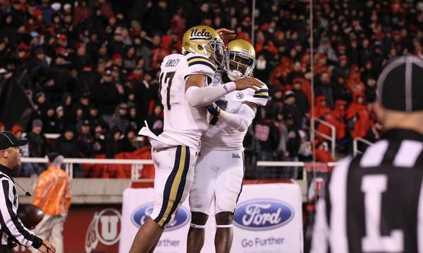 UCLA quarterback Brett Hundley, left, and receiver Devin Fuller celebrate a touchdown in a win over California last week. The Bruins hope to stay undefeated on the season against Stanford on Saturday.