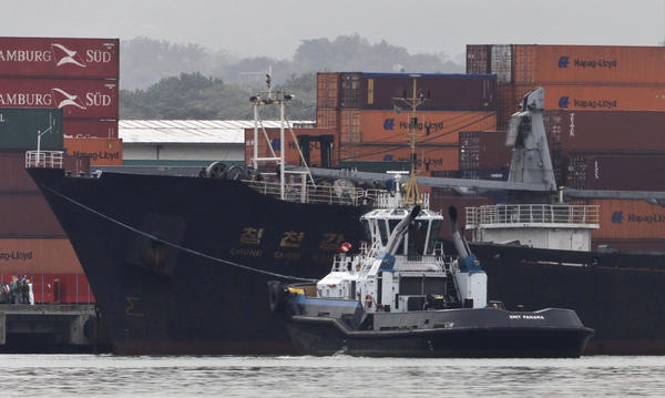 The North Korean-flagged cargo ship Chong Chon Gang docked at the container terminal at Colon City, Panama, on July 16. The ship caught carrying contraband weapons components from Cuba to North Korea will be allowed to return home soon.