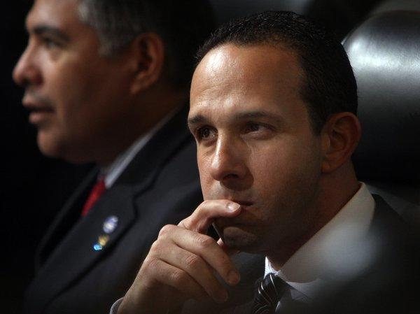"Los Angeles City Councilman Mitchell Englander, right, in 2012. In a statement Friday, he said: ""The first I heard of these allegations was when I learned about this lawsuit."""