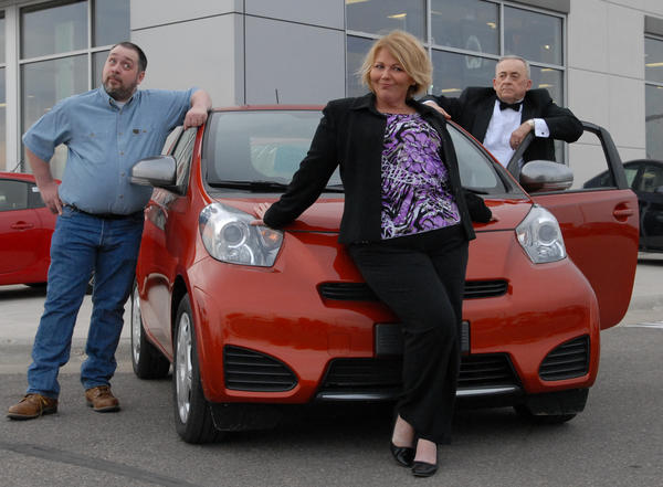 The cast of Beckys New Car includes, from left, Curt Campbell as Joe, Lori Harmel as Becky and Warren Redmond as Walter.