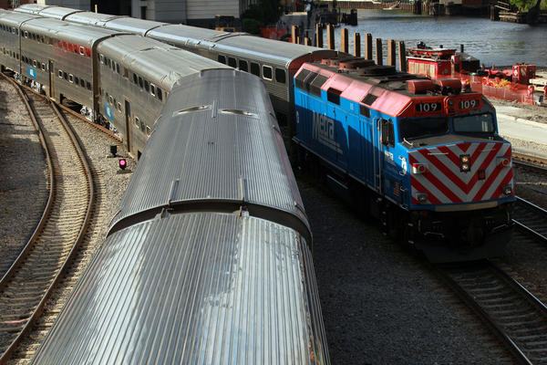 Metra trains just north of Lake Street in May 2013.