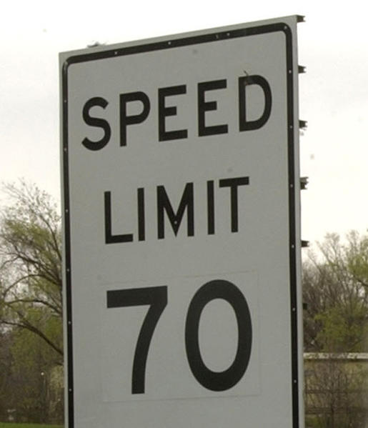 70 mph speed limit sign.