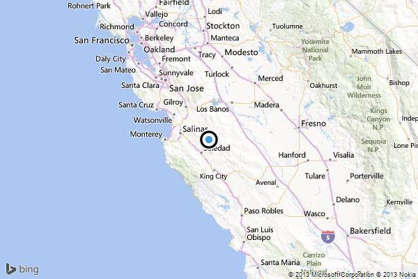 A map showing the location of the epicenter of Friday evening's quake near Soledad, Calif.