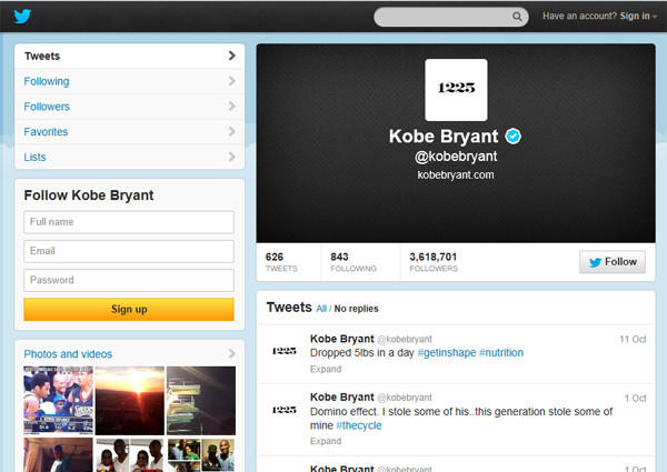 Kobe Bryant Twitter account