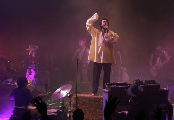 Edward Sharpe (a.k.a. Alex Ebert) and the Magnetic Zeros in his Big Top Festival at L.A. State Historic Park in Los Angeles.