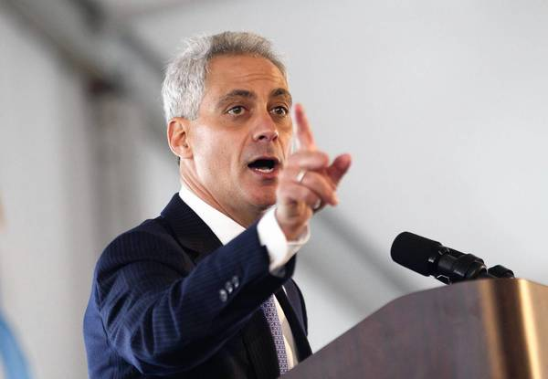 Mayor Rahm Emanuel speaking Thursday at a ceremony to commission a new runway at O'Hare International Airport.