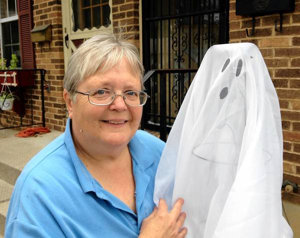 Cathy Wooley of Allentown uses tomato cages to make Halloween decorations.