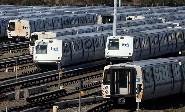 BART trains sit idled at a maintenance facility in Richmond, Calif., on Friday after workers went on strike.