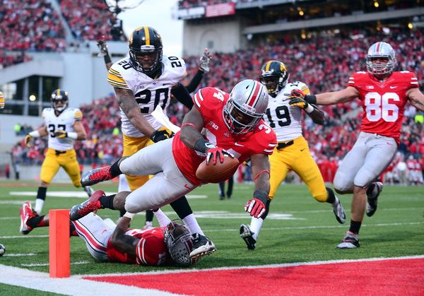 Ohio State's Carlos Hyde dives into the end zone for a touchdown during the fourth quarter against Iowa.