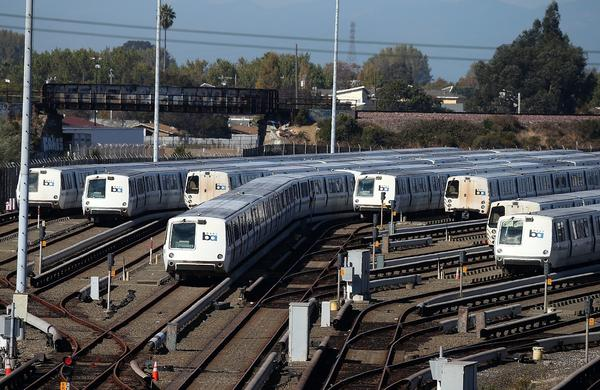 Trains sit idle at a BART maintenance facility on the first day of the BART strike in Richmond.