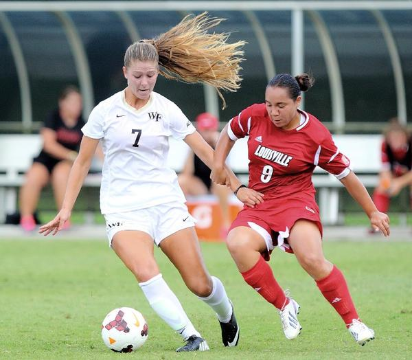 While not always filling up a stat sheet, Flintridge Sacred Heart Academy graduate Sarah Teegarden, left, is garnering national attention with Wake Forest.