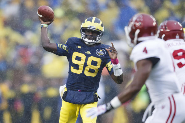 Michigan quarterback Devin Gardner passes the ball in the first quarter against Indiana.