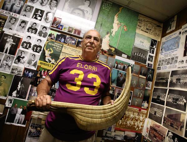 Francisco Elorriaga was a professional jai alai player in the 1960s, the Orlando Jai Alai Fronton in Fern Park would sell out on almost every weekend night. He holds his cesta in his office.