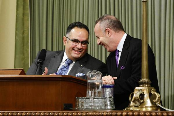 Assembly Speaker John Pérez and Senate President Darrell Steinberg confer in the Capitol in September. AB 1266 barely cleared the Senate and was approved by a small margin in the Assembly.