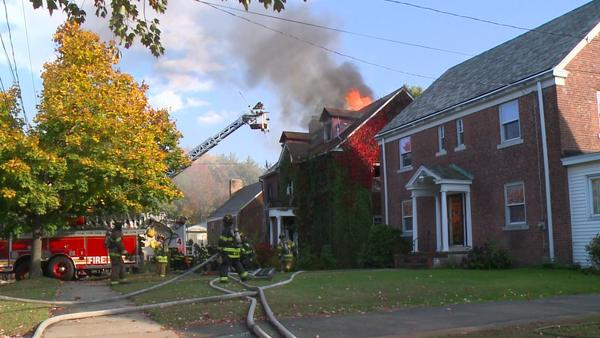 A single-family home was damaged after a fire tore through the building Sunday afternoon on Colebrook Street in Hartford.