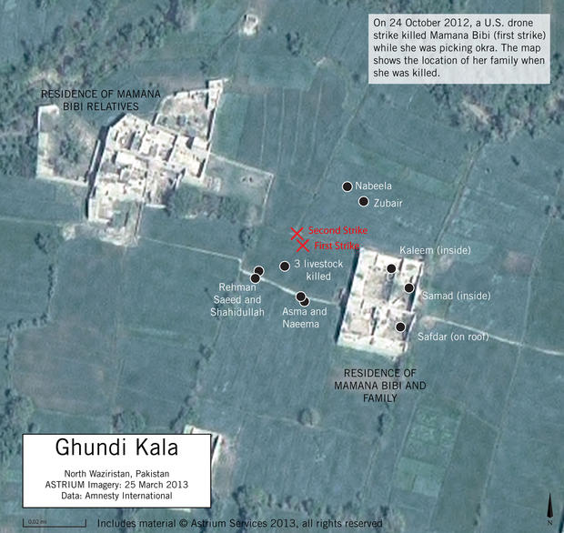 A satellite image shows the reported locations of two U.S. airstrikes in North Waziristan, Pakistan, last year.