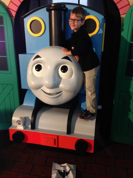 Danny O'Connell of Aberdeen with Thomas the Train Saturday. American News Photo by John Papendick