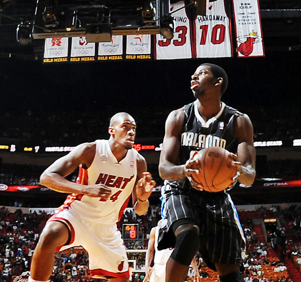 Miami's Jarvis Varnado gets some minutes against Orlando in the fourth quarter late in the season.