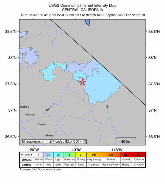 Approximate location of a 3.9 earthquake that struck near Mammoth Lakes.