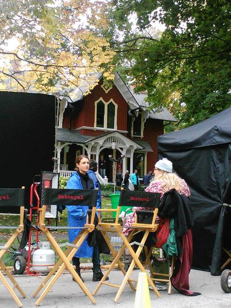 "Crews filmed an episode of the ABC series ""Betrayal"" at a home in Riverside this week."