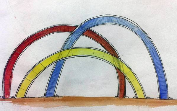 """The chosen design by Tulane University Professor Weston Lambert is constructed of curved stainless steel plates and colored glass. The bike rack is designed to """"interact with and reflect the lines you would find in a bike parked against them,"""" Lambert said in an email."""