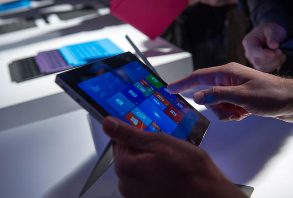 A user tries out the Microsoft Surface Pro 2 at an event in New York.