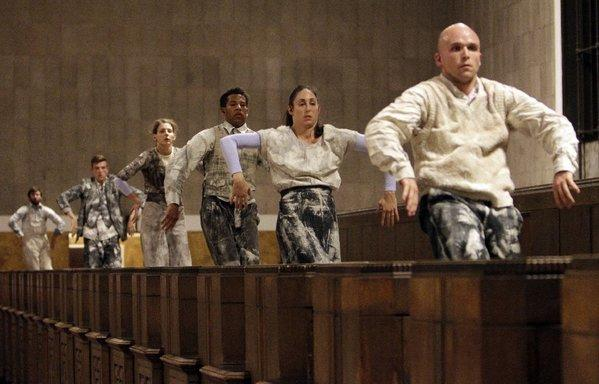 "The corp of dancers during dress rehearsal of the opera ""Invisible Cities,"" in Union Station in Los Angeles on Oct. 17, 2013."