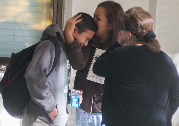 A Sparks Middle School student reacts after the shooting.