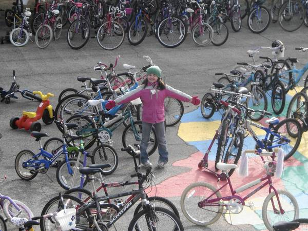 Nicole Basil with the Pedal Power bikes in 2008.
