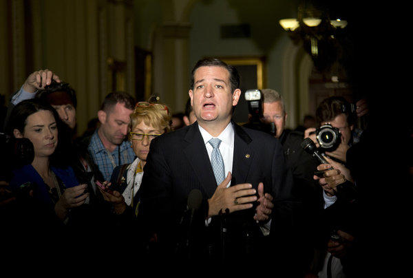 Sen. Ted Cruz, R-Texas, talks to reporters on Capitol Hill in Washington after House leaders reached a last-minute agreement to avert a threatened Treasury default and reopen the government after a partial, 16-day shutdown. Cruz made a name for himself by leading the tea party charge toward shutdown.