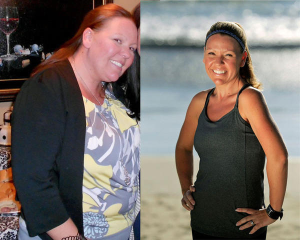 Left: A photo of Julie Real taken in March 2012; the following month she joined Weight Watchers. Right: Julie Real, 31, after losing 91 pounds with Weight Watchers.