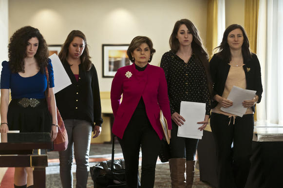 UConn students Rose Richi and Erica Daniels, with attorney Gloria Allred (center), UConn student Carolyn Luby and UConn graduate Kylie Angell arrive at a Hartford press conference to discuss sexual assaults that have led to Allred filing a complaint with the Office of Civil Rights claiming their rights under Title IX have been violated by UConn. Richi, Daniels, Luby and Angell are four of seven people who claim to have been assaulted.