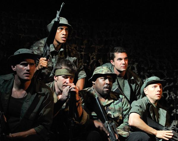 "An all-service-veteran ensemble shows the enduring relevance of the Vietnam War-themed ""Tracers."" Front, from left: James Bane, Christopher DeVinny, Jonathan ""Doc"" Farrow, Dan Bridges. Rear: Juliez Frazier, Trevor Scott."