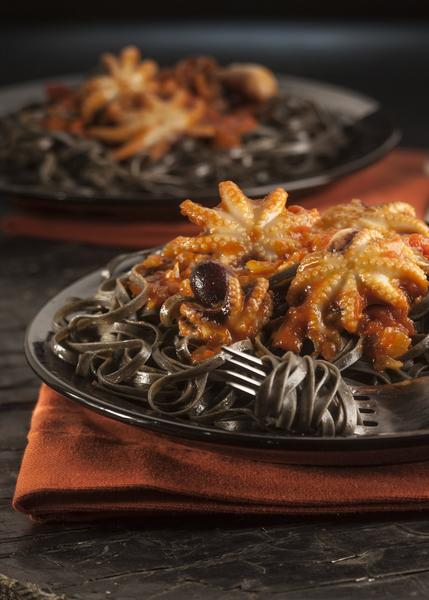 Foods with deep black hues set the stage for Halloween dinners: Black rice, squid ink pasta, blackberries.