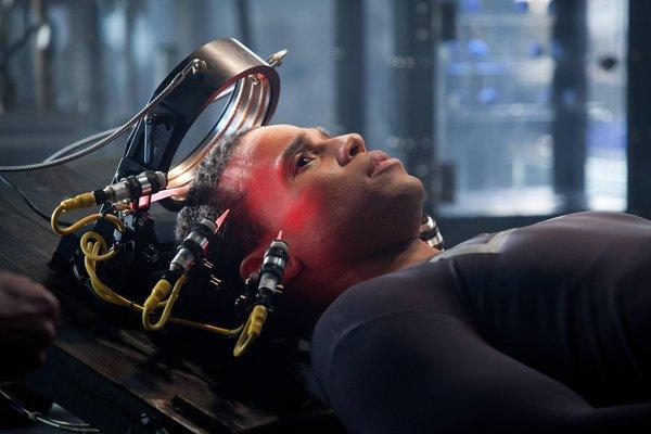 "Michael Ealy in a scene from ""Almost Human,"" a high-tech, high-stakes action drama set 35 years in the future, when police officers are partnered with highly evolved human-like androids."