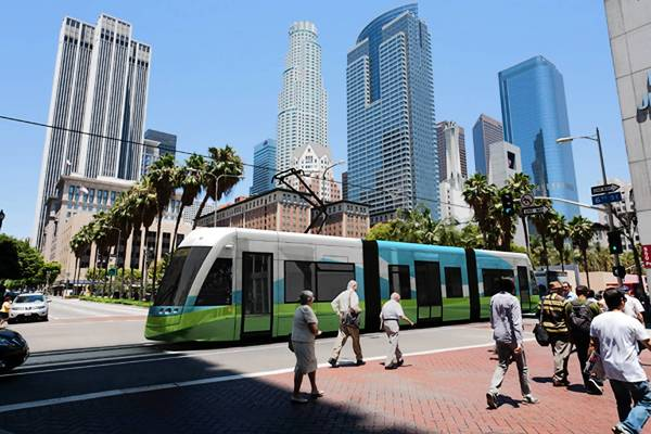 Officials recently announced that cost estimates to bring back the L.A. streetcar have more than doubled, to as much as $327.8 million. Earlier budgets had not accurately accounted for inflation or the potentially high cost of relocating utilities. Above, an artist's rendering of the streetcar.
