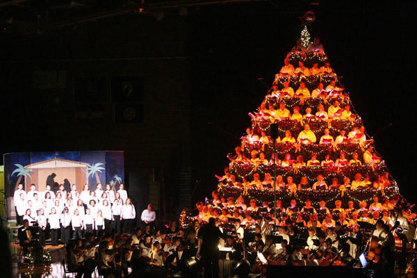 For 25 years, the Living Christmas Tree has been presented at the Aberdeen Civic Arena in early December.