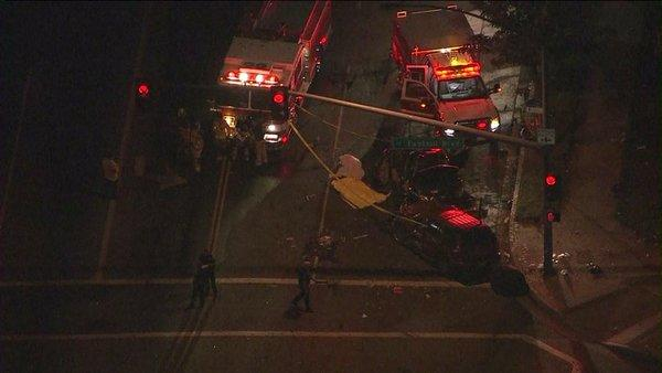 Two people were killed and four others were injured in a car crash in Fontana.