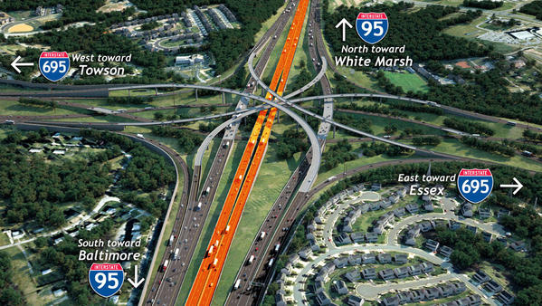 Express toll lanes on Interstate 95 (highlighted in orange) are scheduled to open in 2014.