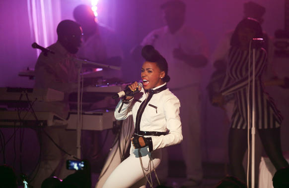 Janelle Monae performs at the Vic Theatre in Chicago.