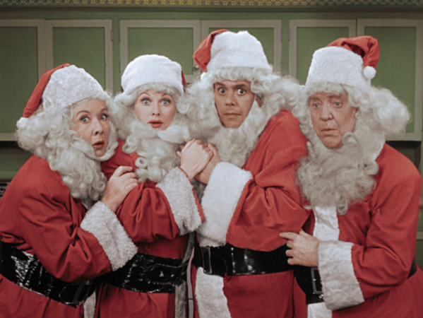 "Vivian Vance, left, Lucille Ball, Desi Arnaz and William Frawley in a scene from ""I Love Lucy's"" Christmas episode."