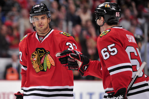 Blackhawks forward Brandon Pirri (left) has three points in three games this season.