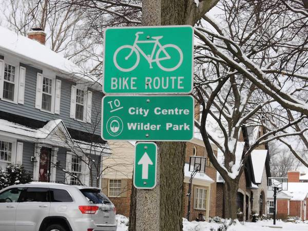 Bike route signs were installed in the city to enourge more people to bike, and to help Elmhurst earn the Bike-Friendly community designation.