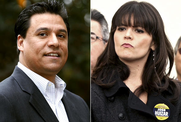 Los Angeles City Councilman Jose Huizar and his former deputy chief of staff Francine Godoy. Godoy has sued him for alleged sexual harassment, and the councilman has said they had a consensual relationship.