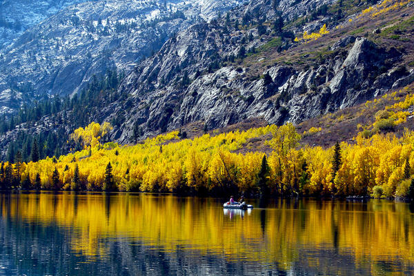 Recent color changes on Silver Lake, north of Mammoth. A recent survey found 59% of adults plan to take at least one trip before January.