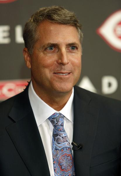 Cincinnati Reds new manager Bryan Price smiles during a news conference at Great American Ballpark.