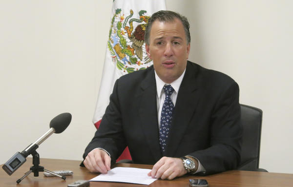 Mexican Foreign Secretary Jose Antonio Meade speaks at a news conference at the Mexican U.N. Mission in Geneva.