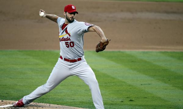 St. Louis starter Adam Wainwright delivers a pitch during the Cardinals' loss in Game 3 of the National League Championship Series to the Dodgers.