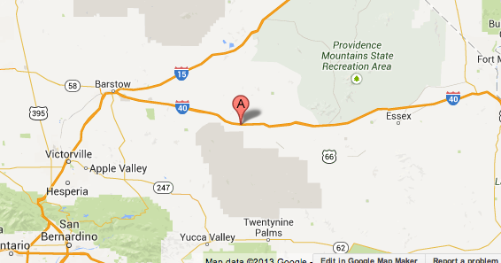 Map shows general location where two freight trains collided in San Bernardino County, fire officials say.