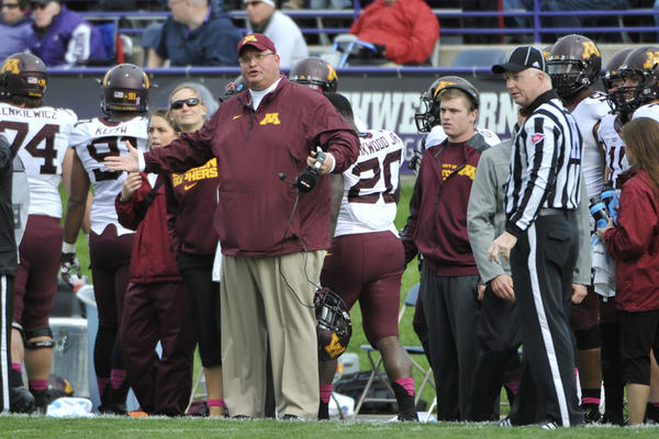 Minnesota Golden Gophers interim head coach Tracy Claeys during the second half against Northwestern